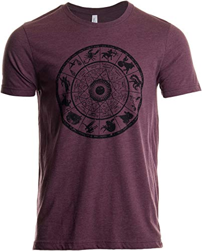 Zodiac Wheel   Stylish Horoscope Art Astrology Spiritual Unisex Triblend T-Shirt-(Triblend,2XL) Heather Maroon