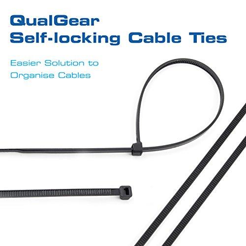 QualGear CT5-B-100-P Self-Locking Cable Ties, 8-Inch, Black 100/Poly Bag by QualGear (Image #1)