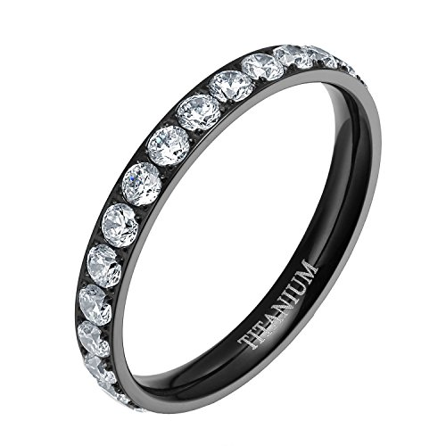 Titanium Promise Ring - TIGRADE Womens Titanium Eternity Rings Cubic Zirconia Wedding Engagement Band (Titanium Black,6)