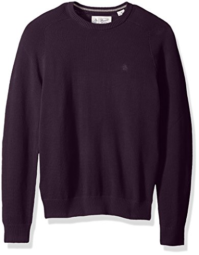 Original Penguin Men's Long Sleeve Honeycomb Pique Sweater, Nightshade, Extra Large (Cloth Honeycomb)