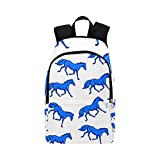 Abstract Horses Blue Knight Casual Daypack Travel Bag College School Backpack for Mens
