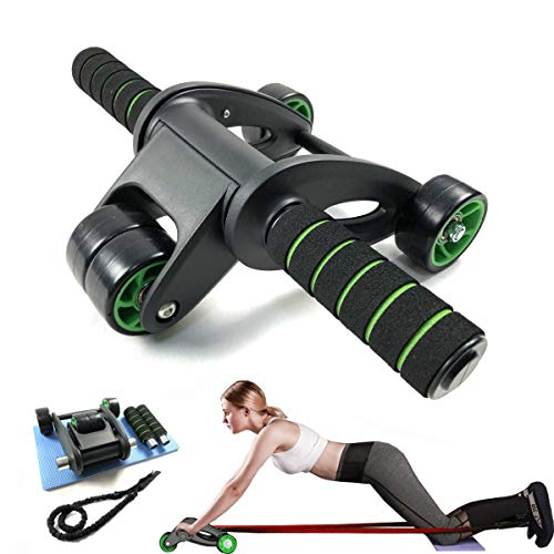 Shapelocker Ab Roller Wheels Kit, Foldable Ab Carver Roller for Abdominal Core Exercise with Resistance Band and Knee Pad