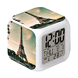Cointone Led Alarm Clock Paris Eiffel Tower Design Creative Desk Table Clock Glowing Electronic Colourful Digital Alarm Clock for Unisex Adults Kids Toy Birthday Present