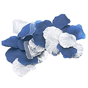 ALLHEARTDESIRES 600 Pack Navy Blue & Silver Artificial Rose Flower Petals for Wedding Table Confetti Birthday Bridal Shower Party Centerpieces Graduation Party Flower Girl Basket Aisle Decoration 50