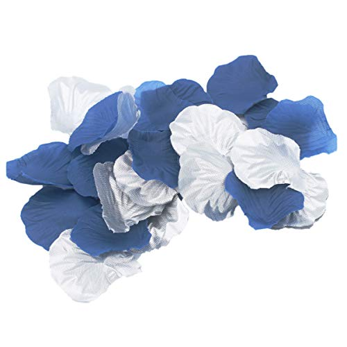 (ALLHEARTDESIRES 600 Pack Navy Blue & Silver Artificial Rose Flower Petals for Wedding Table Confetti Birthday Bridal Shower Party Centerpieces Graduation Party Flower Girl Basket Aisle Decoration)