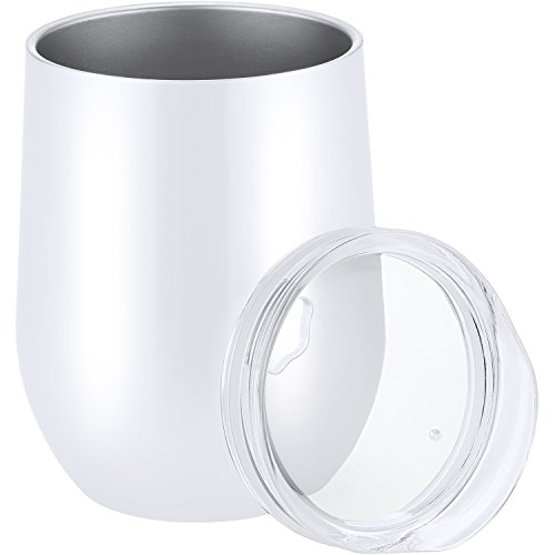 Skylety 12 oz Double-insulated Stemless Glass Wine Tumbler, Stainless Steel Tumbler Cup with Lids for Coffee, Drinks, Champagne, Cocktails (White)