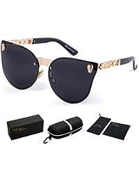 Rimless Skull Design Cat Eye Sunglasses UV400 Protection