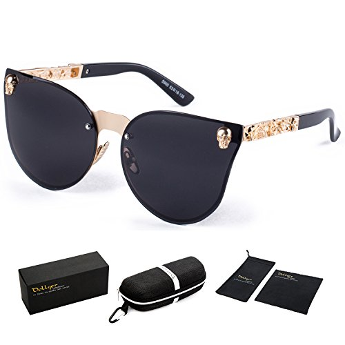 Dollger Skull Design Cat Eye Sunglasses UV400 Protection (Rimless Black Lens+Gold Frame)