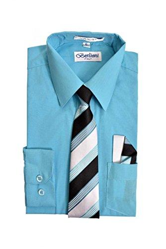 - Boy's Premium Dress Shirt with Matching Necktie and Pocket Square Set (16, Blue Aqua)