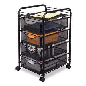 New-Safco 5214BL - Onyx Mesh Mobile File w/Four Supply Drawers, 15-3/4w x 17d x 27h, Black - SAF5214BL by Safco