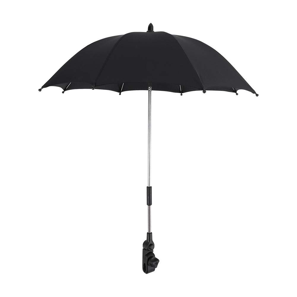 Stroller Umbrella Wheelchair Pushchair Plastic Baby Stroller Umbrella and Holder with Mental Parasol UV Rays Rain Sun Canopy Sun Shadow Shade Baby Cart Umbrella with Clip for Protecting Babies by GOTOTOP (Image #9)