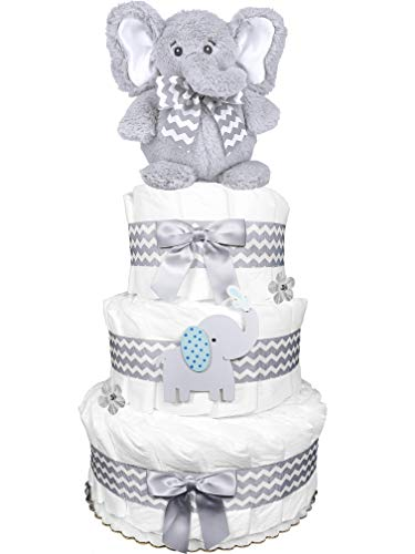 Elephant Diaper Cake for a Boy - Baby Shower 3-Tier Centerpiece Gift Set - Chevron Gray from Sunshine Gift Baskets