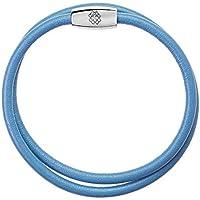 Pulseira em Couro Azul Claro 18 cm