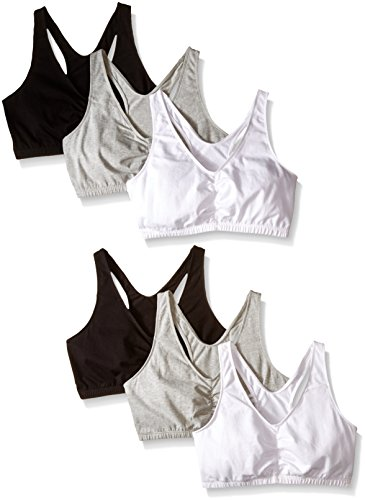 Fruit Of The Loom Racerback Bra - Fruit of the Loom Women's Shirred Front Racerback, White/Heather Gray/Black, 38 (Pack of 6)