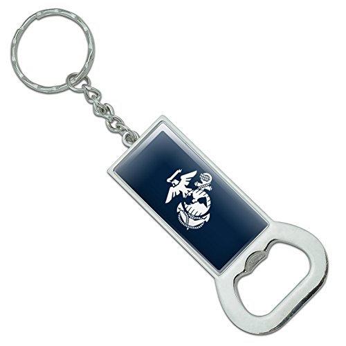 Anchor Chain White Cap (Marine Corps USMC White Eagle Globe Anchor on Blue Officially Licensed Rectangle Chrome Plated Metal Bottle Cap Opener Keychain Key Ring)