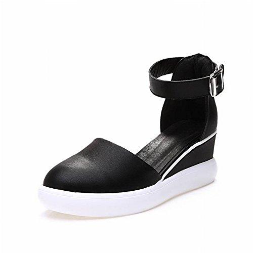 Rojo Pendiente Blanco Aumento Baotou Sandalias Femeninas Negro TYERY Zapatos Neto de Casuales Transpirables 35 Zapatos con Cwqx5