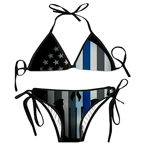 Miaoquhe Funny Punisher Skull Two Piece Bikini Swimsuit Swimwear Women Girls Beachwear -