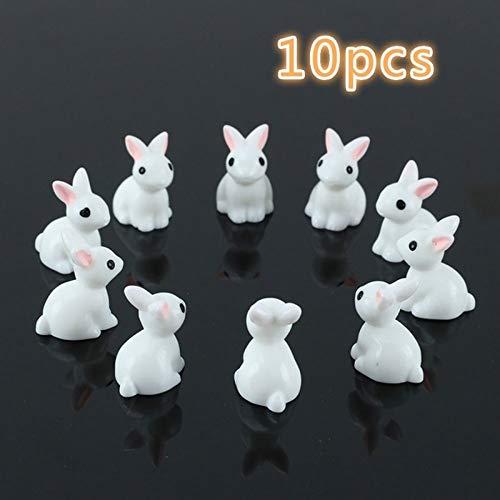 MOBITEL Figurines & Miniatures - Pcs Lovely Miniature Mini Rabbit Resin Garden Fairy Ornament Flower Plant Pot Home Figurine Animal Decor @LS JU0117 1 PCs