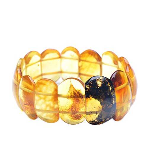 Exclusive Style Baltic Amber Bracelet for Adult on Elastic Thread – Shiny Amber Stones -Unique Shape – Colorful Natural…