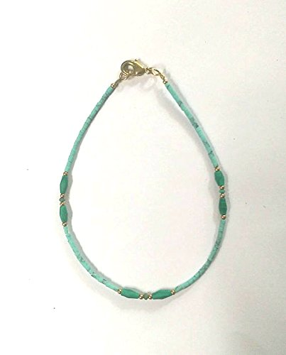 """Afghan Natural Turquoise Tiny Seed Beads Anklet Ankle Bracelet with Malachite, Brass Beads 9.25"""" Make for Order Handmade Gemstone Jewelry"""