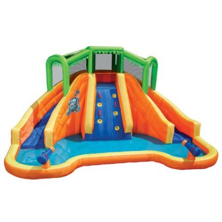 Banzai Twin Falls Lagoon Inflatable Water Slide with Climbing Wall and 2 Cannons