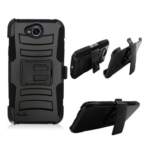 Phone Case Straight Talk LG Fiesta L64vL 63BL, Tracfone LG Fiest-2 L163B, (Simple Mobile) LG X-Power-2 LTE, LG X-Charge, LV7 Rugged Cover Stand Combo Holster (Hoslster Black Edge Cover Kickstand)