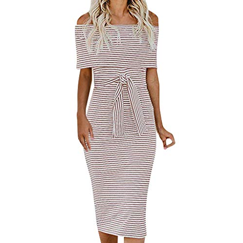 Gergeos Women Stripe Short Sleeve Off Shoulder Summer Casual Dress Slim Empire Dress with Belt(Pink,Medium)