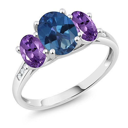10K White Gold Diamond Accent Oval Blue Mystic Topaz Purple Amethyst 3-Stone Ring 2.00 Ct, Available in size (Blue Topaz Purple Ring)