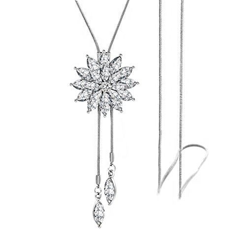 (Zealmer Shoopic Crystal Tassel Snowflake Pendant Necklace Long Sweater Necklace for Women Girls)