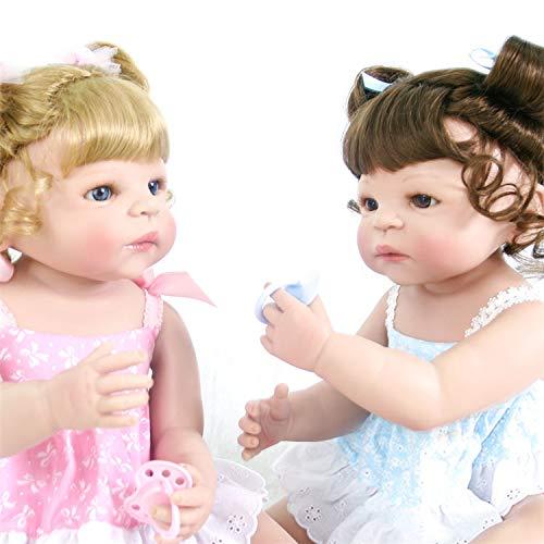 KEIUMI Lovely Princess Reborn Baby Twins Mädchen 58,4 cm/57 cm Full Silikon Vinyl Neugeborene Puppen Schwestern mit magnetischer Schnuller Kinder Geburtstag Xmas Geschenk