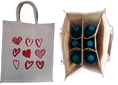 KVR natural Jute burlap wine beer water bottle cum can carrier bag red Heart Pirnted Grocery & lunch bag, Eco Environment Friendly versatile flexible (6 bottle bag, - Bag Shopping Macy's