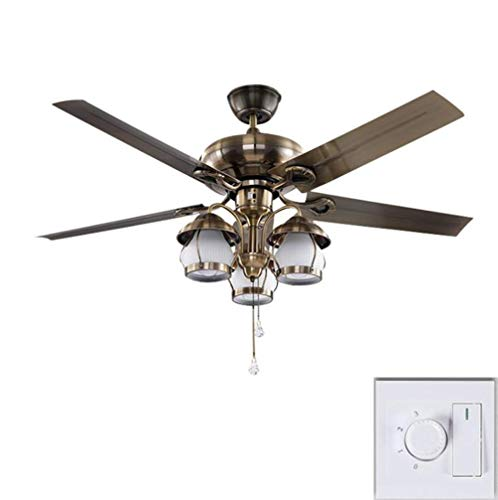 Ceiling Fan with Light Lamp 122cm LED Simple Retro Nostalgic Lighted Iron Plate Fan Blade Mute (Wall Control)