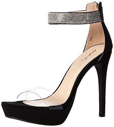 Qupid Women's Platform Heeled Sandal, Black, 8.5 M US ()