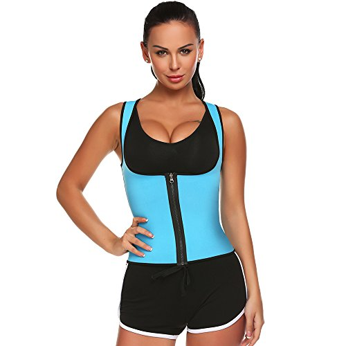 NINE BULL Women Underbust Zipper Corset Body Shaper Vest With Adjustable Straps Trainer Perfect For Sports (Plastic Vest)