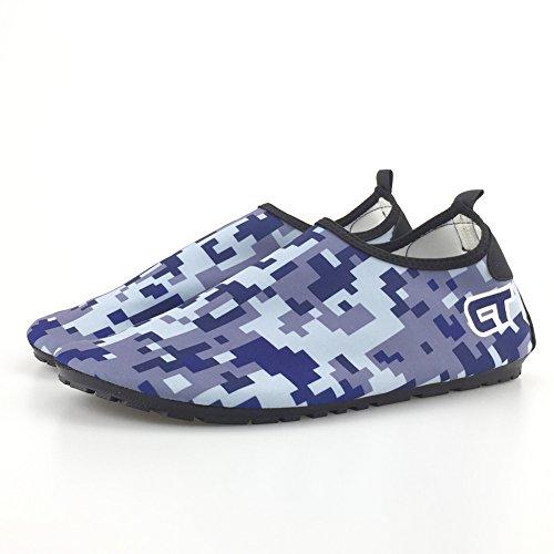 SENFI [Verbesserte Ver Quick-Dry Barefoot Wassersport Aqua Schuhe für Beach Surf Bootfahren Schnorcheln schwimmen M.blau