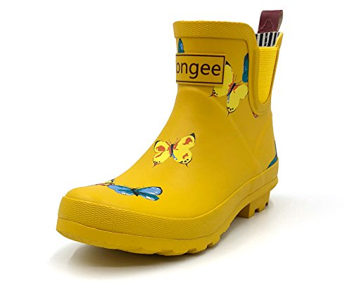 Rongee Short Ankle Rubber Rain Boots Chelsea Booties for Women Butterfly Printed with Elastic Gore and Oxford Bag Packed (10 B(M) US)