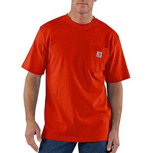 Carhartt Men's Big and Tall K87 Workwear Pocket Short Sleeve T Shirt, Rustic Orange Heather, 2X-Large -