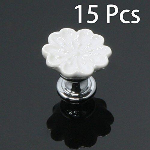 SunKni 32mm 15 Pack Cabinet Knobs / Ceramic Pulls / Dresser Drawer Handles / Flower Floral Knobs for Furniture Closet Wardrobe Kitchen Cupboard Bathroom Nursery New Set with Screws 15Pcs (White) (Cabinet Cute)