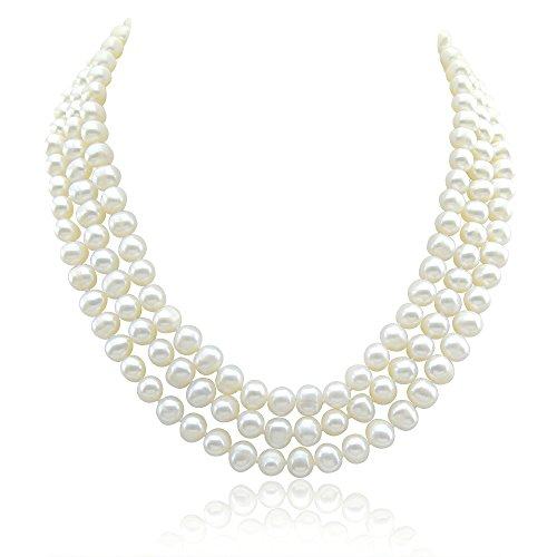 Akwaya 3-row Bridal Wedding 6.5-7.5mm White Freshwater Cultured Pearl Necklace 17 17.5 18.5