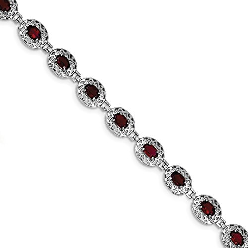 ICE CARATS 925 Sterling Silver Red Garnet Filigree Bracelet 7 Inch Gemstone Fine Jewelry Ideal Gifts For Women Gift Set From Heart