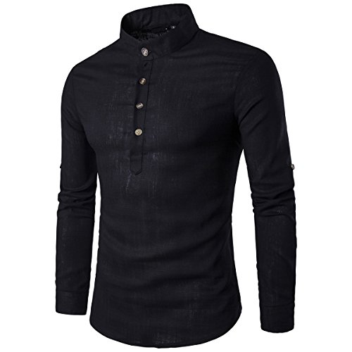 03 Mao Col Chemise Mirecoo Homme Casual Black wxqSnPY