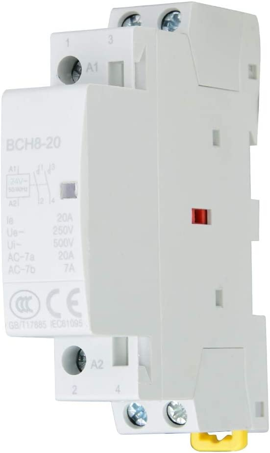 Pbzydu Contactor de CA doméstico, 2P 20A 24V 220V / 230V 50 / 60Hz Montaje en riel DIN 1NO 1NC(24V)
