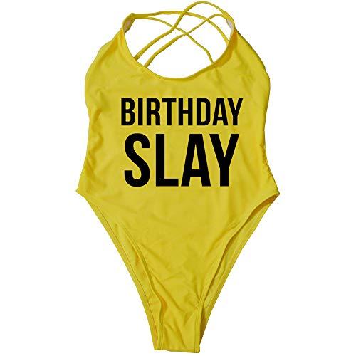 Women Swimsuit Teen Girls One Piece Solid Cross Letter Print Cute Birthday Slay Monokini Set Swimwear Beachwear Sale ()