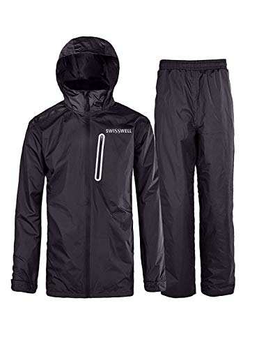 Bicycle Rain Gear - SWISSWELL Mens Waterproof Rainsuit with Hood Black Large