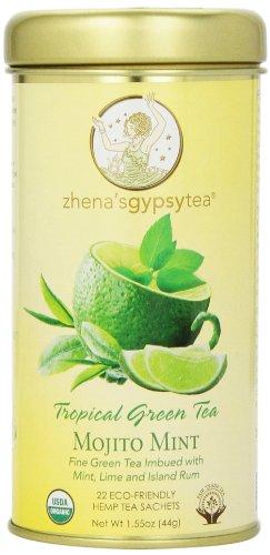 [Zhena's Gypsy Tea, Mojito Mint Tropical Green Tea, 22 Count Tea Sachet] (Tropical Citrus Green Tea)