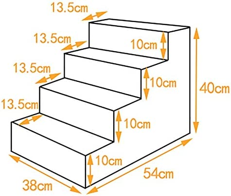Small Dog Trappen van 3 Stap, Non-slip Pet Cats Ladder Ramp for Indoor Bed Sofa Gebruik, verwisselbare Washable Trappen Cover (Size : 38×54×40cm)