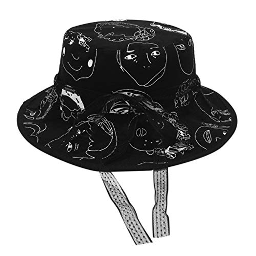 Tuscom Cute Character Print Bucket Hat Lace Fisherman Hats Reversible Packable Cap Summer Cap Fishing Hat Wide Brim Sun Visor Travel Sunshade Eye Protection Hat, Many Patterns (Black) (Reversible Skully Hat)