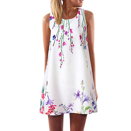 Dressin Womens Dress Summer O-Neck Boho Sleeveless Floral Printed Beach Mini Dress Casual T-Shirt Tank Tops Short -