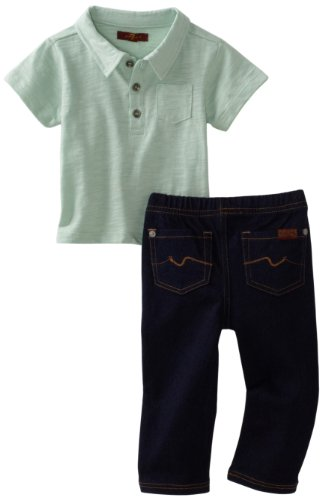 7 For All Mankind Baby Boys' Polo Denim Set