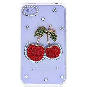 CoolCHILD Lureme Crystals Cherry Pattern Hard Case for iPhone 4/4S